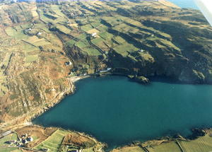 Photograph of South harbour, Cape Clear Island taken from the air