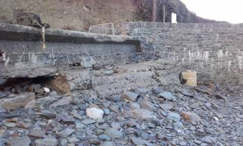 Undermining of sea wall on Cape Clear by Strom Frank